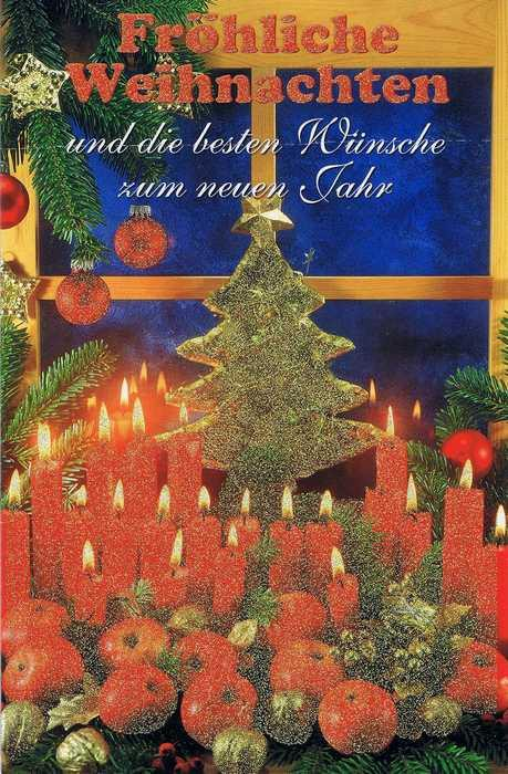 Weihnachtskarte mit Glimmer - Weihnachtskerzen am Fenster