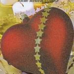 Weihnachtskarte mit Glimmer - Ein Herz in Rot