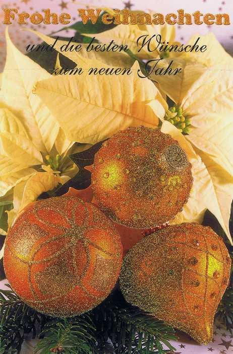 Goldene Weihnachtskugeln.Weihnachtskarte Mit Glimmer Goldene Weihnachtskugeln Und Weihnachtsstern
