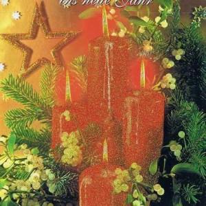 Weihnachtskarte mit Glimmer - Weihnachtskerzen