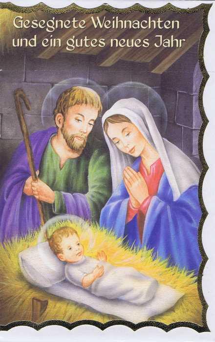 Weihnachtskarte mit Goldrand Krippenmotiv 22-3801