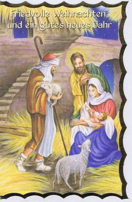 Weihnachtskarte mit Goldrand Krippenmotiv 22-3802
