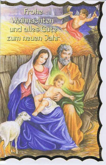 Weihnachtskarte mit Goldrand Krippenmotiv 22-3803