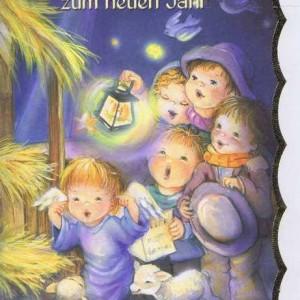 Weihnachtskarte mit Goldrand Krippenmotiv 22-3805
