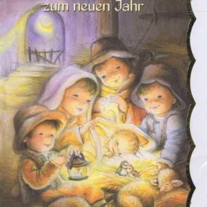 Weihnachtskarte mit Goldrand Krippenmotiv 22-3806