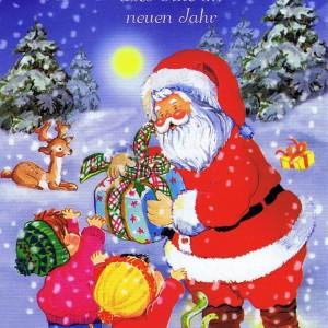 Weihnachtskarte 3 - Weihnachtsmann und glückliche Kinder