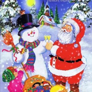 Weihnachtskarte 4 - Weihnachtsmann und glückliche Kinder