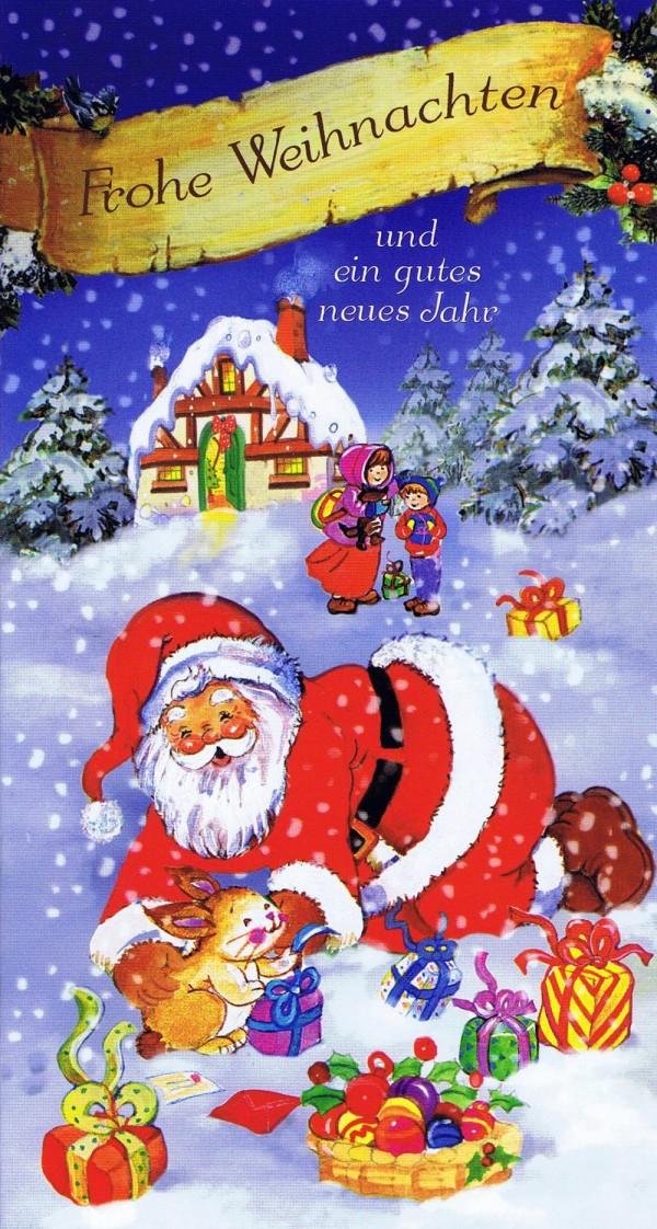 Weihnachtskarte 5 - Weihnachtsmann und glückliche Kinder