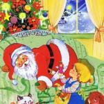 Weihnachtskarte 6 - Weihnachtsmann und glückliche Kinder