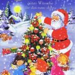 Weihnachtskarte 7 - Weihnachtsmann und glückliche Kinder