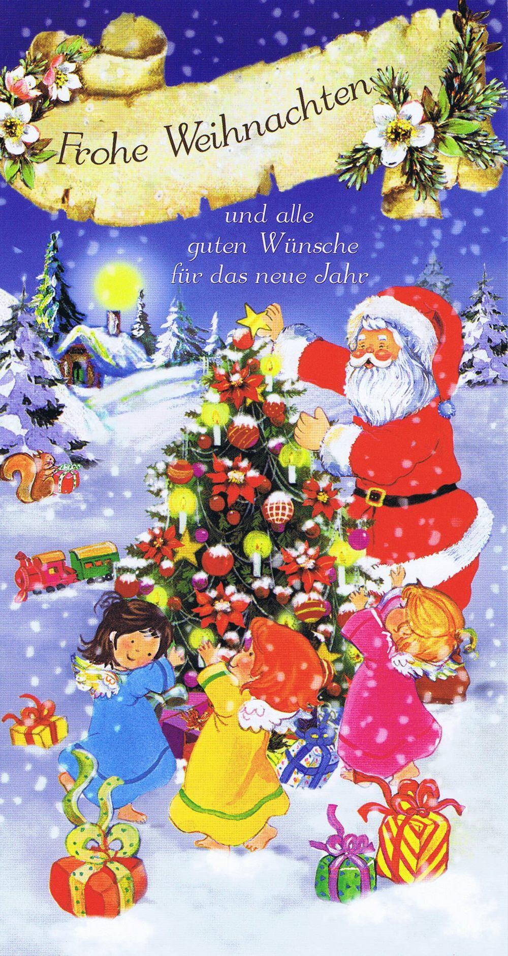 weihnachtskarte 7  weihnachtsmann und glückliche kinder