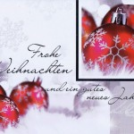 Weihnachtskarte quer Motiv: Weihnachtskugeln rot silber