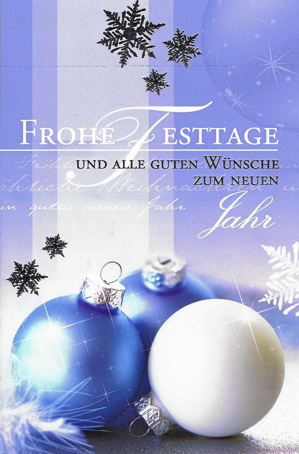 Weihnachtskarte Motiv: Weihnachtskugeln blau weiß