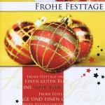 Weihnachtskarte Motiv: Weihnachtskugeln rot gold