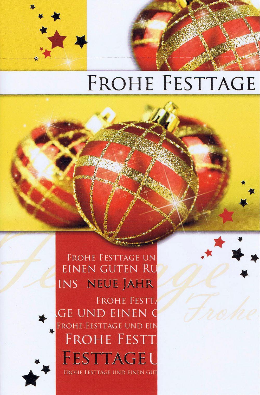 Weihnachtskarte Motiv: Weihnachtskugeln rot gold | Kartenwichtel.de