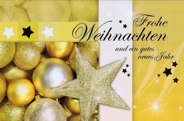 Weihnachtskarte quer Motiv: Weihnachtskugeln und Stern gold