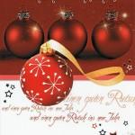 Weihnachtskarte Motiv: Weihnachtskugeln rot