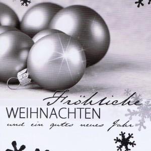 Weihnachtskarte Motiv: Weihnachtskugeln rot silber