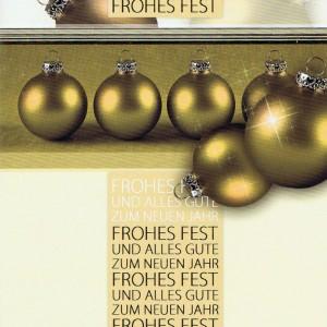 Weihnachtskarte Motiv: Weihnachtskugeln gold