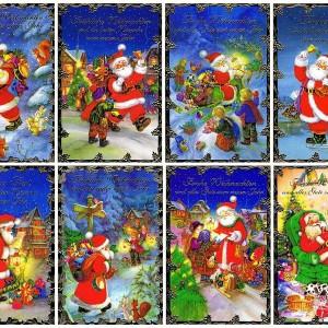 Weihnachtskarten-Set mit 8 Klappkarten Motiv Lustiger Weihnachtsmann