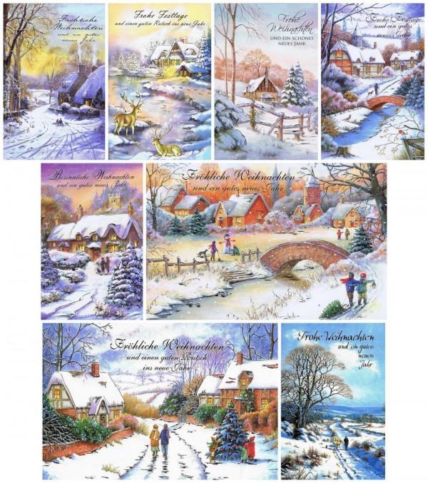 Weihnachtskarten 8 idyllische Weihnachtsmotive