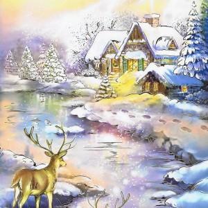 Weihnachtskarte mit idyllischen Weihnachtsbild 224299 Details in Goldfolienprägung
