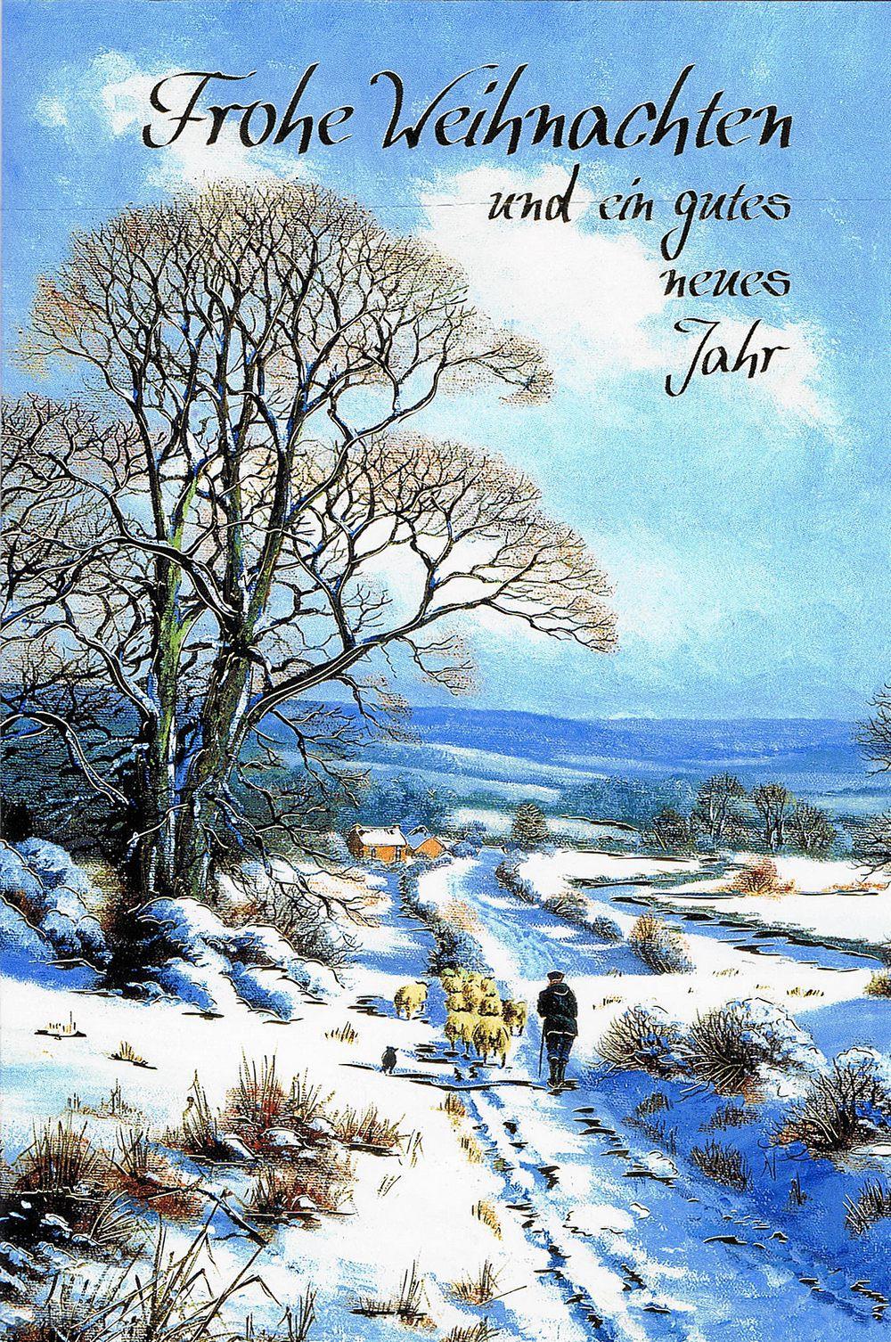 Weihnachtskarte mit idyllischen Weihnachtsbild 224300 Details in Goldfolienprägung