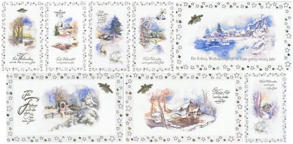 Weihnachtskarten mit 8 idyllische Weihnachtsmotive