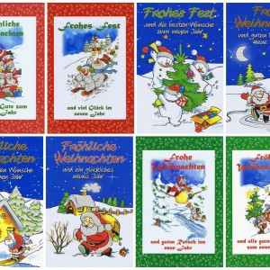 Weihnachtskarten mit Glimmer Lustiger Weihnachtsmann, Schneemann