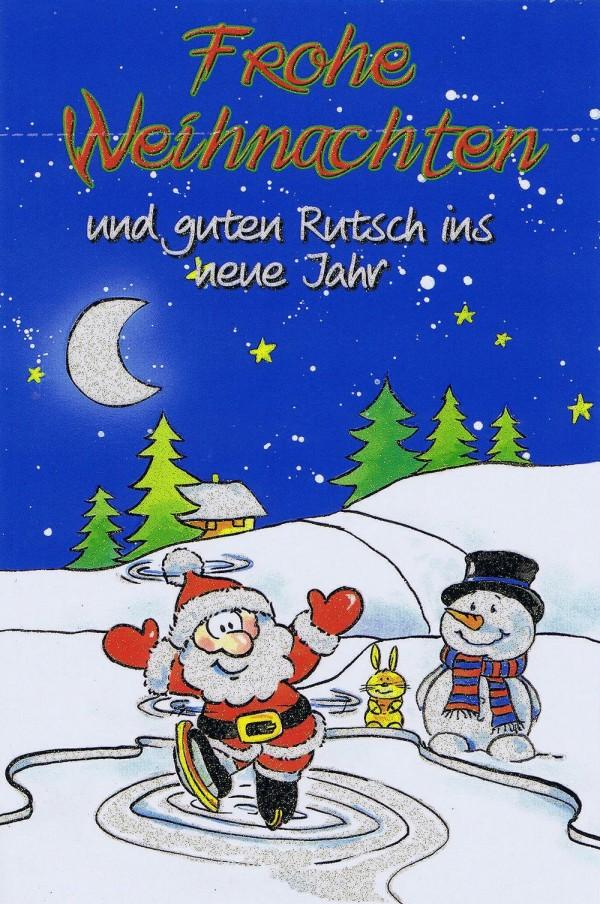 Weihnachtskarte mit Glimmer Lustiger Weihnachtsmann, Schneemann