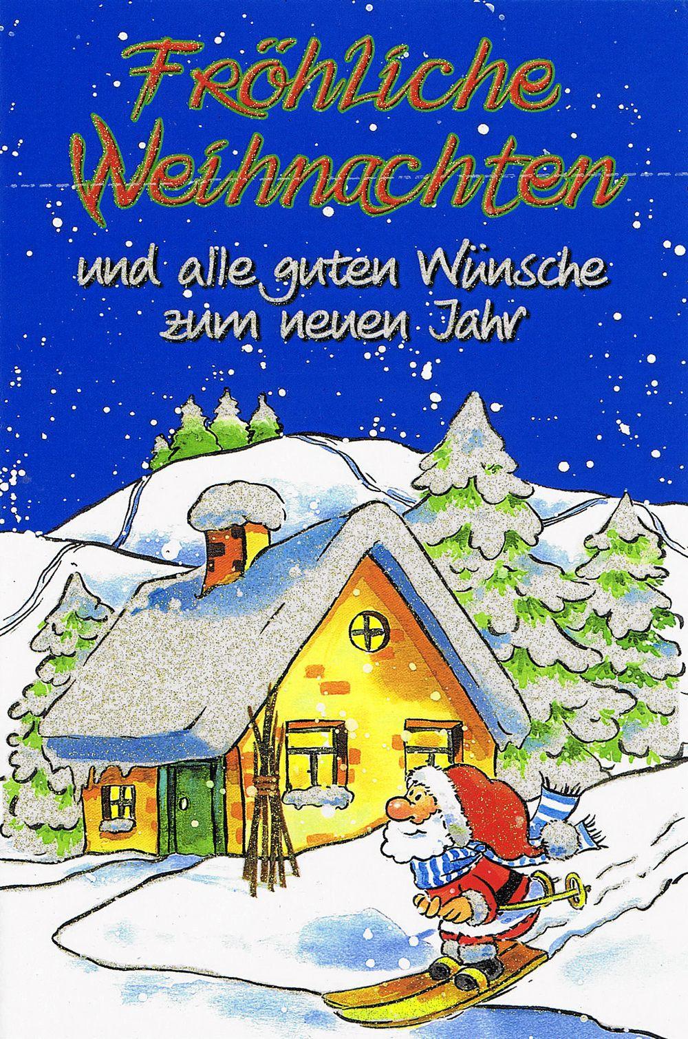 Weihnachtskarte mit Glimmer Lustiger Weihnachtsmann