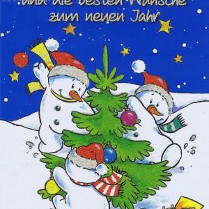 Weihnachtskarte mit Glimmer Lustige Schneemänner