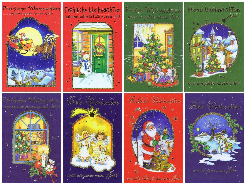 Weihnachtskarten-Set mit 8 Klappkarten mit schönen Weihnachtsmotiven