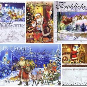 Weihnachtskarten mit 8 schönen Weihnachtsmann-Mitiven