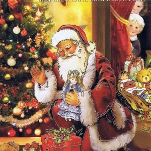 Weihnachtskarte Weihnachtsmann 224302 Details in Goldfolienprägung