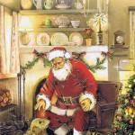 Weihnachtskarte Weihnachtsmann 224304 Details in Goldfolienprägung