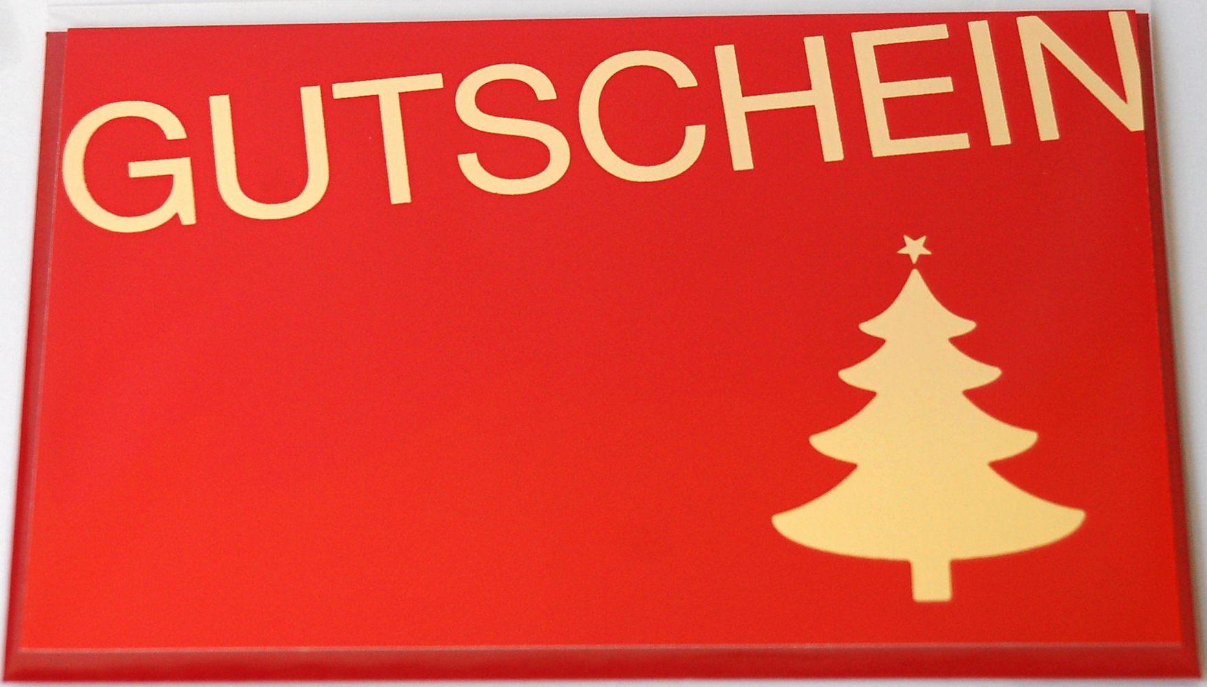Weihnachtskarte - Gutschein Folienprägung gold rot