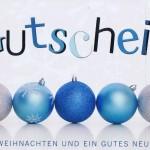 Weihnachtskarte - Gutschein blau/silber