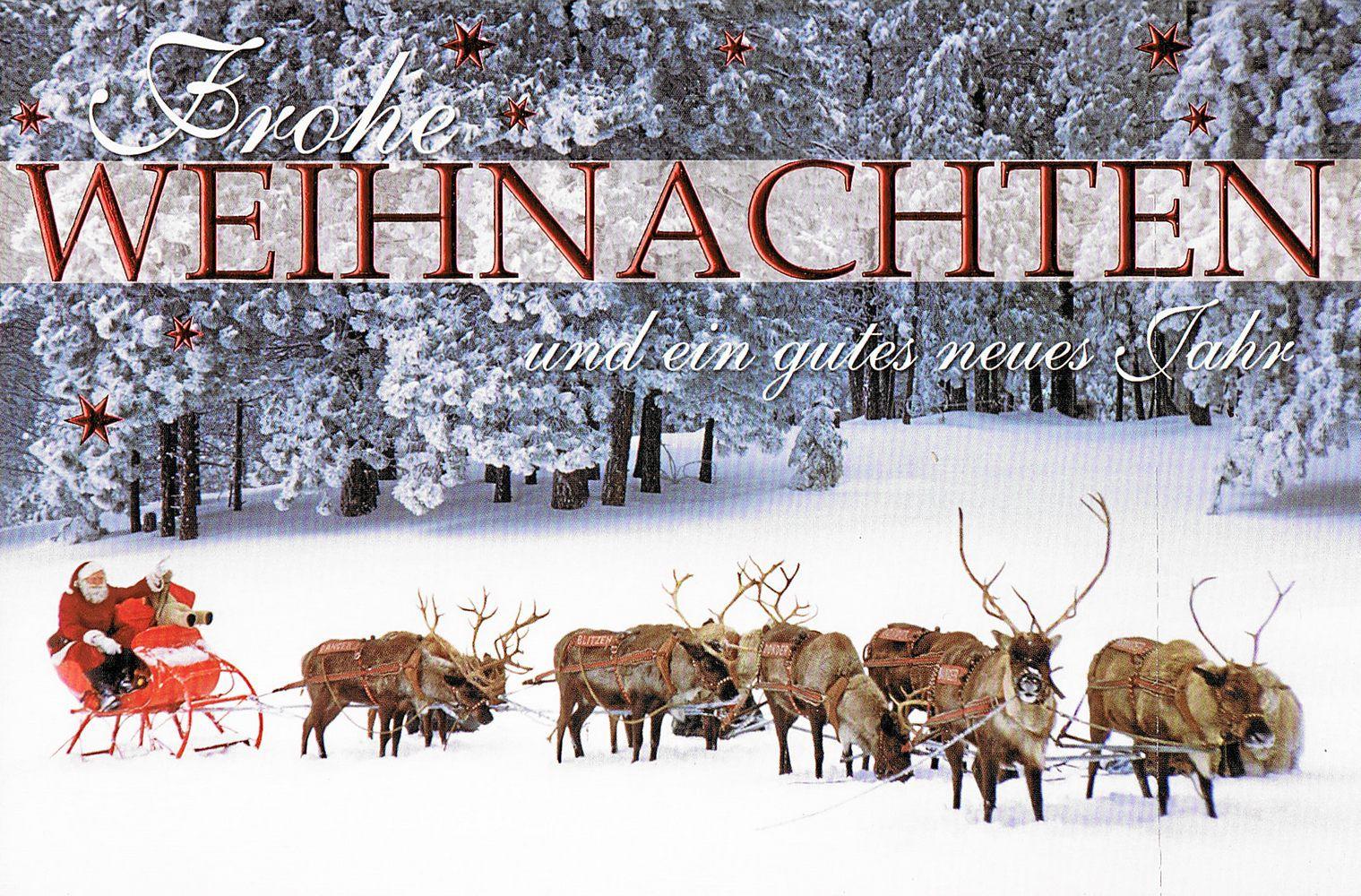 Weihnachtskarte - Weihnachtsmann mit Rentierschlitten