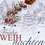 Weihnachtskarte - Weihnachtsmann mit fliegenden Rentierschlitten