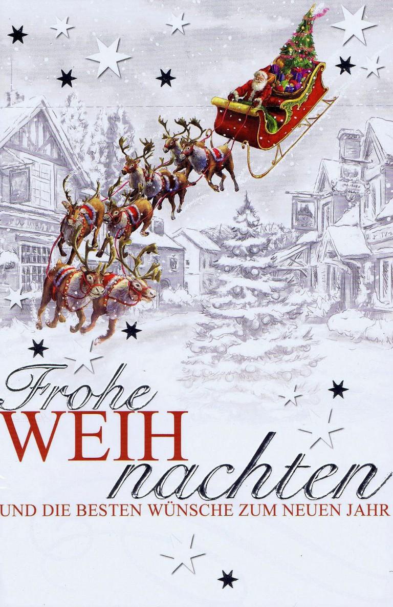 weihnachtskarte  weihnachtsmann mit fliegenden