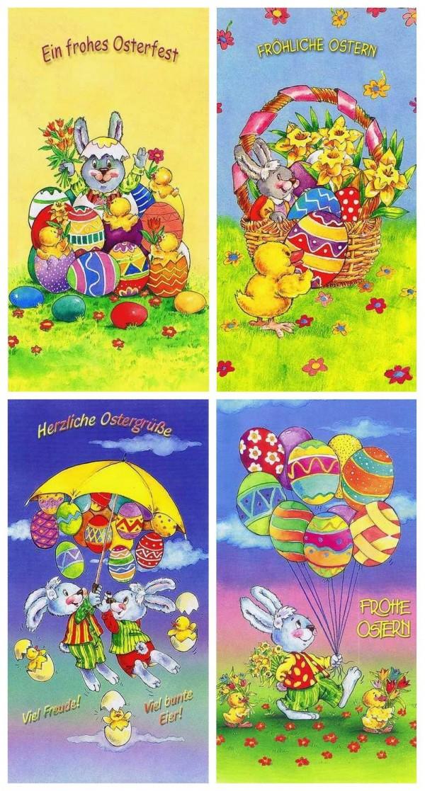 Lustige Osterkarten für Ostergrüsse, 4 Karten mit Umschlag