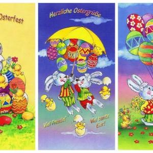 Lustige Osterkarten für Ostergrüsse, 3 Karten mit Umschlag