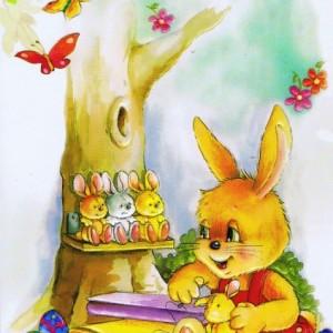 Osterkarte, Reliefkarte, süße Osterhasen, Ostergruß 101046