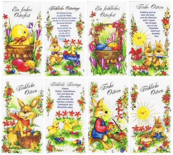 Osterkartenset mit 8 Osterkarten, Reliefgeprägt