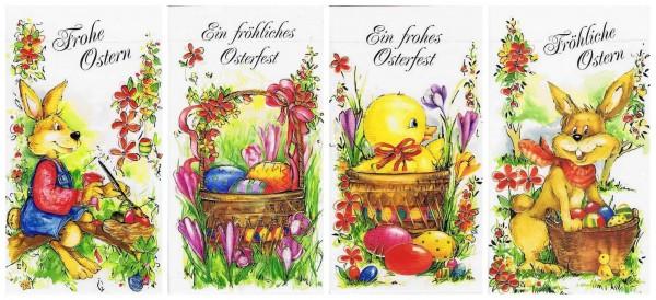 Osterkartenset mit 4 Osterkarten, Reliefgeprägt