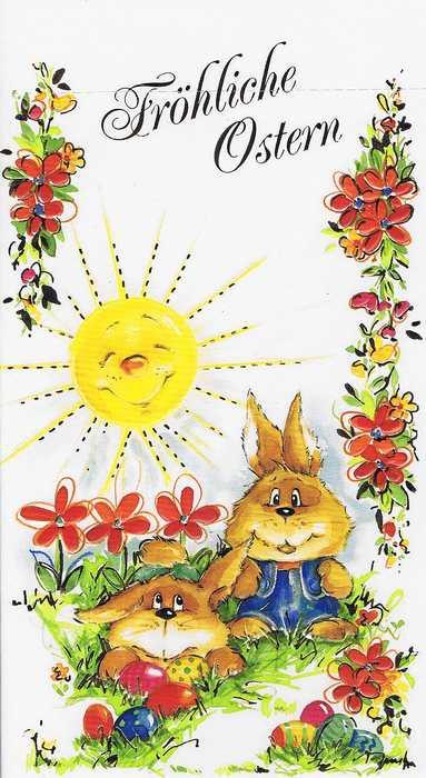 Osterkarte für nette Ostergrüsse, Reliefgeprägt 13-1188 Osterhasen