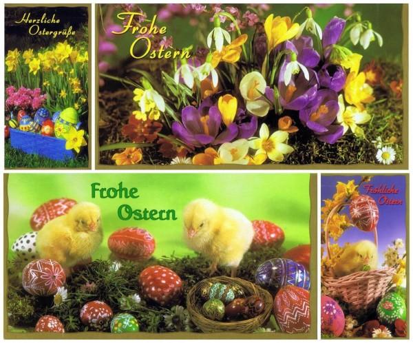 Osterkartenset mit 4 Osterkarten mit Ostermotiv