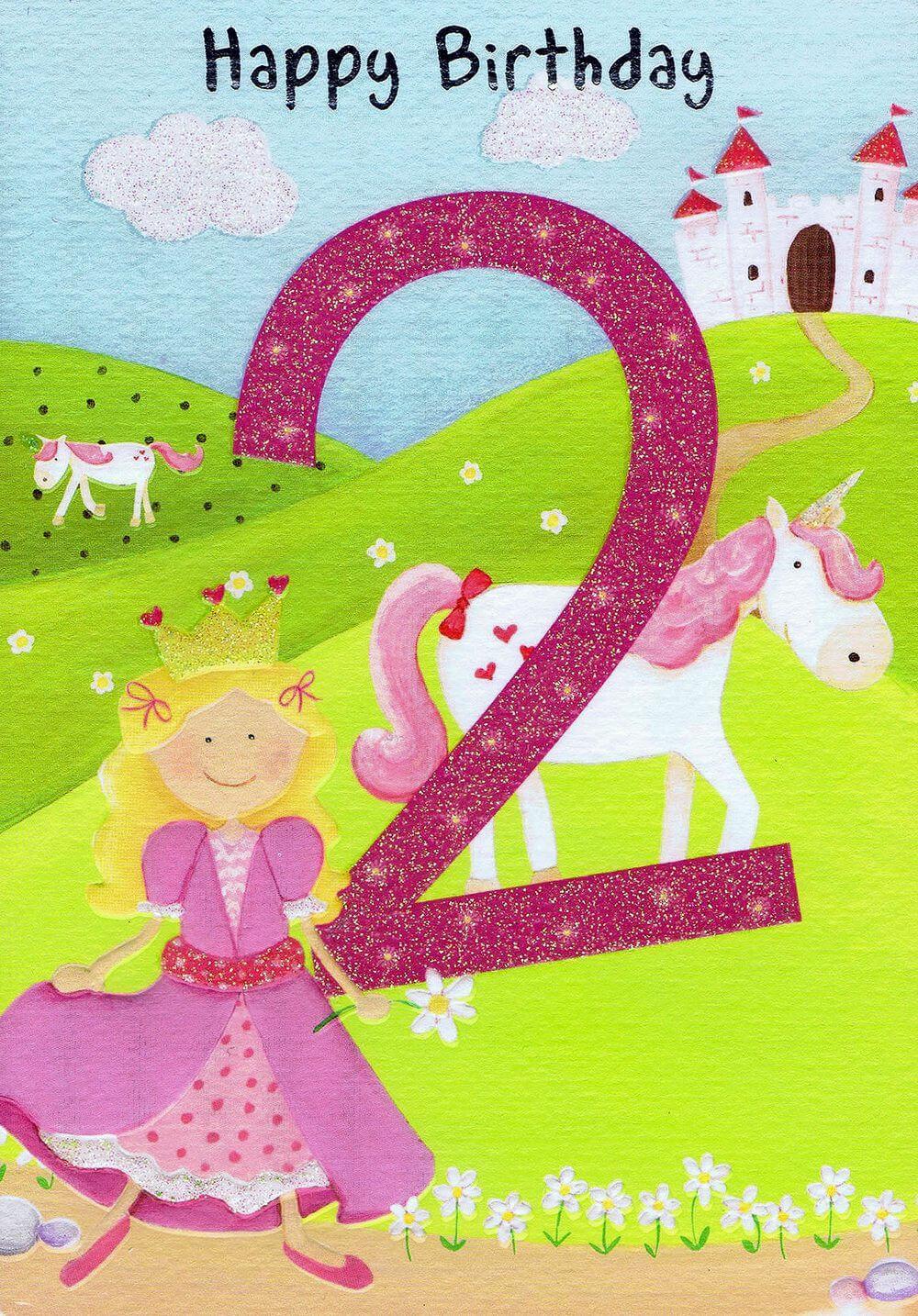 Märchenhaften Geburtstag - 2 - Happy Birthday - Geburtstagskarte mit Zahlen