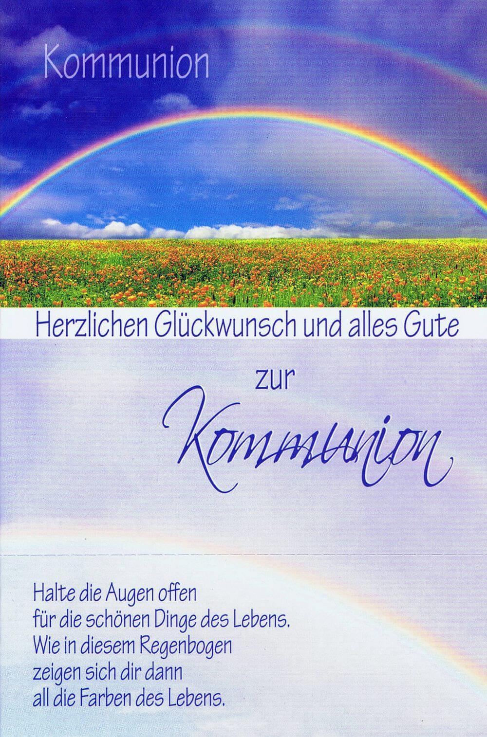 Glückwunschkarte zur Kommunion XKO109 Regenbogen